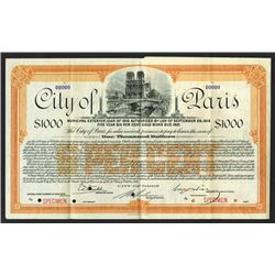 City of Paris, 1916 Specimen Bond