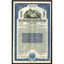 Government of the French Republic 1920 Specimen Bond
