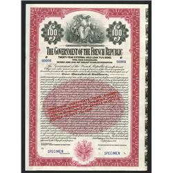Government of the French Republic 1921 Specimen Bond