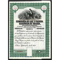 Compania de Luz y Fuerza Electrica de Toluca, 1922 Specimen Bond.