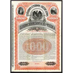 Estados Unidos Mexicanos Ferrocarril Troncal De Oaxaca, 1892 Specimen Bond