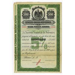 Estados Unidos Mexicanos, 1920 Specimen Bond