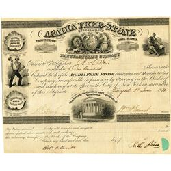 Acadia Free-Stone Quarrying and Manufacturing Co., 1853 Issued Stock