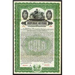 Republic of Peru, 1922 Specimen Bond