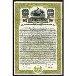 Republic of Peru, 1925 Specimen Bond
