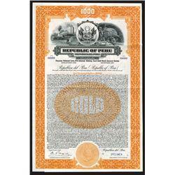 Republic of Peru, 1928 Specimen Bond