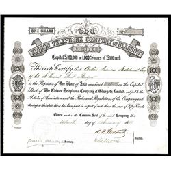 Edison Telephone Company of Glasgow, 1880 Issued Stock.
