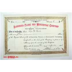 Alhambra Flume and Mercantile Co., 1888 Issued Stock