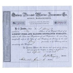Quincy Fire and Marine Insurance Co., 1856 Issued Stock Certificate