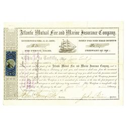 Atlantic Mutual Fire and Marine Insurance Co., 1872 Issued Stock Certificate
