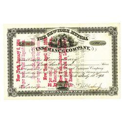 New York Mutual Insurance Co., 1893 Issued Stock Certificate