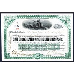 San Diego Land and Town Co. Issued Stock.