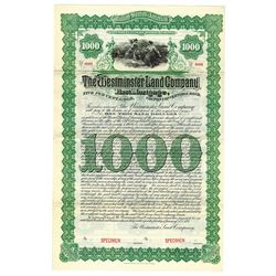 Westminster Land Co., 1894 Specimen Bond