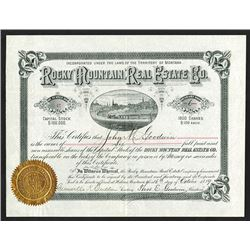 Rocky Mountain Real Estate Co., 1889 Stock Certificate.