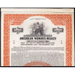 American Woman's Realty Corp., 1927 Specimen Bond.