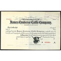 James Converse Cattle Company, ca.1890's Specimen Stock Certificate.