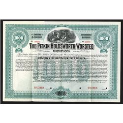 Pitkin-Holdsworth Worsted Co., 1899 Specimen Bond