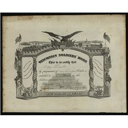 Wisconsin Soldiers; Home Contribution Stock Certificate, ca. 1865.