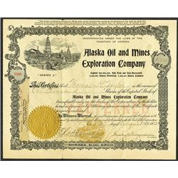Alaska Oil and Mines Exploration Co. 1903 Issued Stock