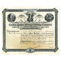 Golden Queen Mining and Milling Co., 1895 Issued Stock Certificate