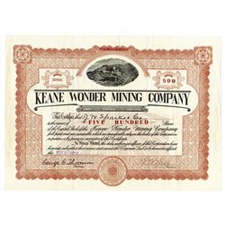 Keane Wonder Mining Co., 1913 Issued Stock Certificate