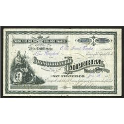 Consolidated Imperial Mining Co., 1880 Stock.