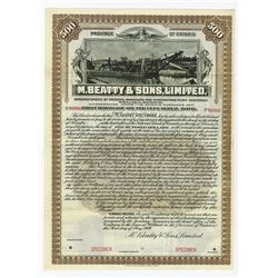 M.Beatty and Sons, LTD., 1909 Specimen Bond