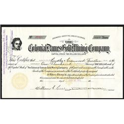 Colonial Dames Gold Mining Co., 1901 Stock Certificate.