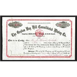 Orphan Boy Hill Consolidated Mining Co., 1886 Stock Certificate.