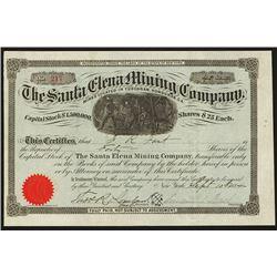 Santa Elena Mining Co. Stock Certificate.