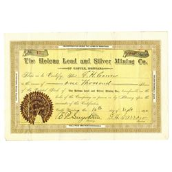 Helena Lead and Silver Mining Co., 1890 Issued Stock Certificate