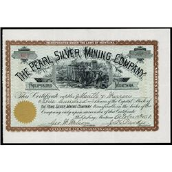 Pearl Silver Mining Co., 1888 Issued Stock Certificate