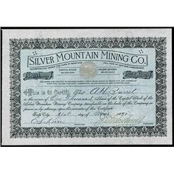 Silver Mountain Mining Co., 1890 Issued Stock Certificate