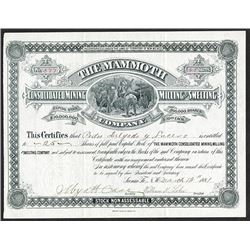 Mammoth Consolidated Mining Milling and Smelting Co. 1881 Issued Stock