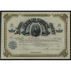 Los Angeles Mining and Smelting Co. 1886 Issued Stock.