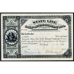 State Line Gold Mining Co., 1881 Issued Stock.