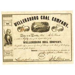 Wellersburg Coal Co., 1855 Issued Stock Certificate