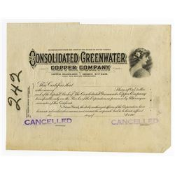 Consolidated Greenwater Copper Co., ca.1900-1910 Proof Stock