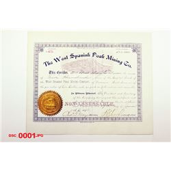 West Spanish Peak Mining Co., 1890 Issued Stock