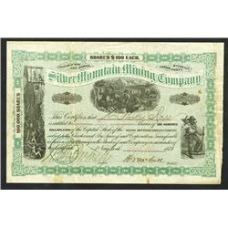Silver Mountain Mining  Co., 1878 Stock Certificate.