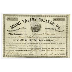 Miami Valley College Co., 1875 Issued Stock