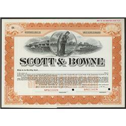 Scott & Bowne, Specimen Stock Certificate, ca.1910-20's.