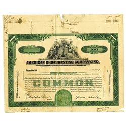 American Broadcasting Co. Inc., ca.1940-1950 Proof Stock Certificate