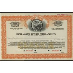 United Comedy Pictures Corp., Ltd., Specimen Stock Certificate, ca.1910-20 - Silent Movie Company.