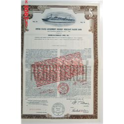 United States Government Insured Merchant Marine ca.1950-1960 Specimen Bond