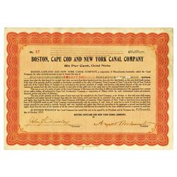 Boston, Cape Cod and New York Canal Co., 1917 Specimen Bond