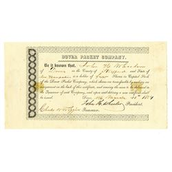 Dover Packet Co., 1854 Issued Stock Certificate