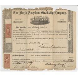North American Steamship Company, 1867 issued Stock Certificate.