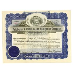 Patchogue & Water Island Navigation Co., 1913 Issued Stock Certificate