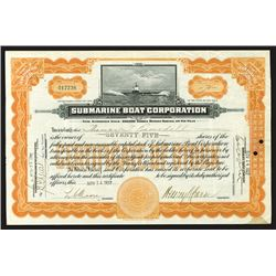 Submarine Boat Corporation, 1927 Stock Certificate.